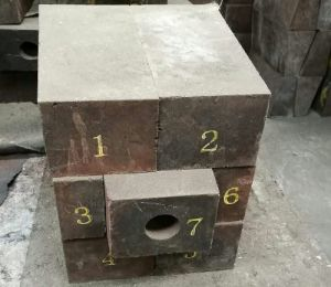Copper smeting coverter e-fuzed re-bonded MgO-Cr2O3 tuyere eye refractory brick